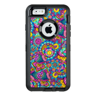 Bright watercolor hand drawn mandala floral OtterBox defender iPhone case