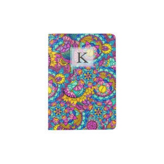 Bright watercolor hand drawn mandala floral passport holder