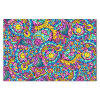 Bright watercolor hand drawn mandala floral tissue paper