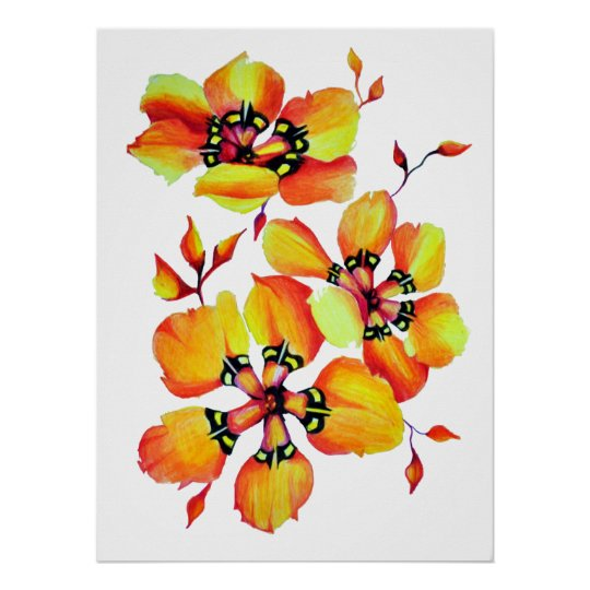 Bright Watercolor Orange Flowers Poster