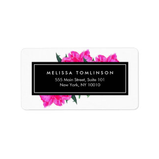Bright Watercolor Pink Peonies Floral Bouquet Address Label
