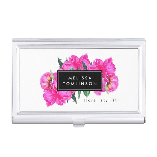 Bright Watercolor Pink Peonies Floral Bouquet Business Card