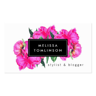 Bright Watercolor Pink Peonies Floral Bouquet Pack Of Standard Business Cards