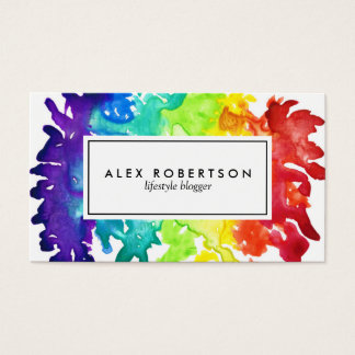 Bright watercolor rainbow business card
