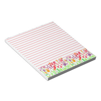 Bright Watercolor Wildflowers Red Lined Notepad