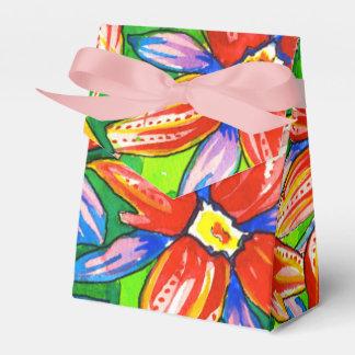 Bright Watercolour Tropical Flower Favour Boxes