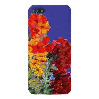 Bright Watercolour Wallflowers on Blue iPhone 5 Cases