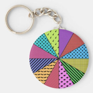 Bright Wedges of Pattern Keychain
