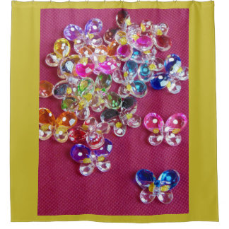 Bright Whimsical Butterfly Buttons Shower Curtain