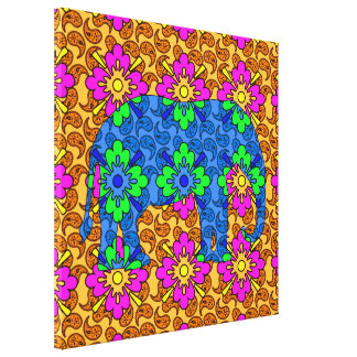 Bright Whimsical Colorful Paisley Elephant Cute Stretched Canvas Prints