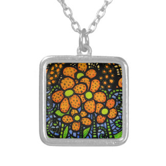 Bright Whimsical Flowers Silver Plated Necklace