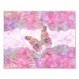 Bright Whimsical Pink Watercolor Paisley Butterfly Photo Print