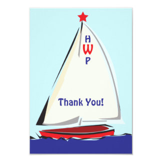 Bright Whimsical Sailboat Note Card 9 Cm X 13 Cm Invitation Card