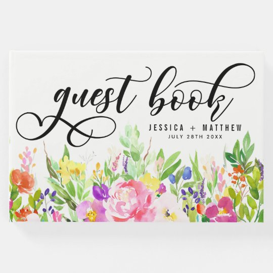 Bright & Whimsical Watercolor Flowers Wedding Guest Book