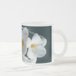 bright white freesia frosted glass coffee mug
