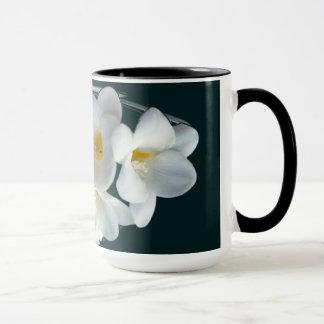 bright white freesia mug