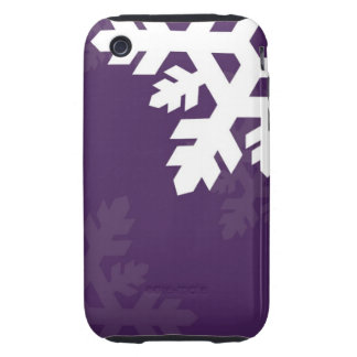 Bright, White Snowflakes against Purple Tough iPhone 3 Covers