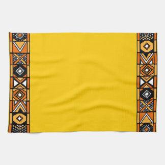 Bright Yellow African Art Kitchen Towel
