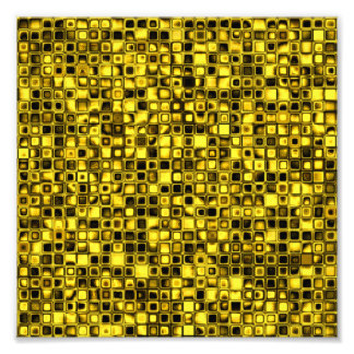 Bright Yellow And Black Textured Grid Pattern Photo Art