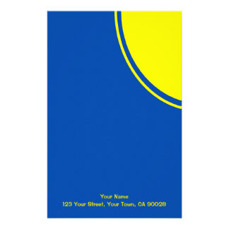 Bright yellow and blue mod circle custom stationery