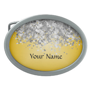 Bright yellow and faux glitter belt buckle
