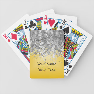 Bright yellow and faux glitter bicycle playing cards