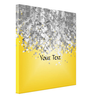 Bright yellow and faux glitter canvas print