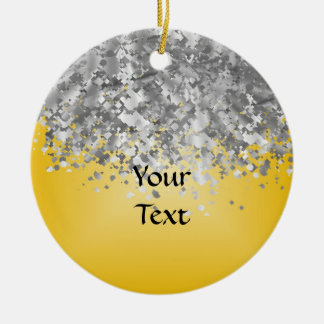 Bright yellow and faux glitter christmas ornament