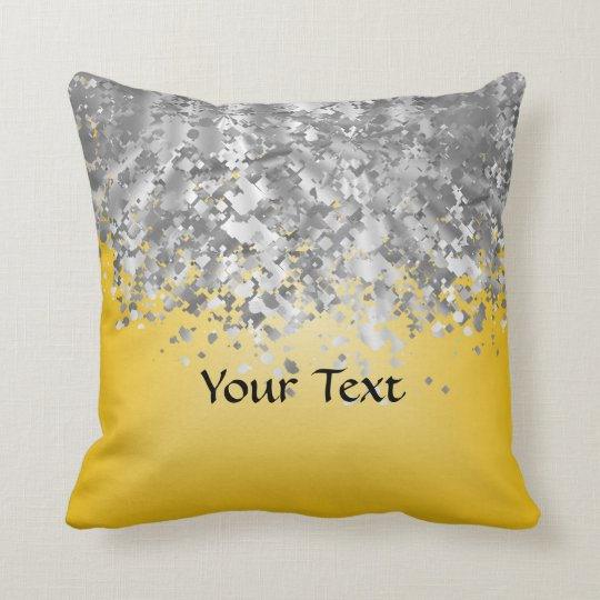 Bright yellow and faux glitter cushion