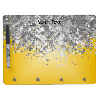 Bright yellow and faux glitter dry erase board with key ring holder