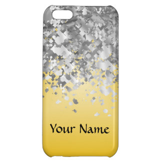 Bright yellow and faux glitter iPhone 5C case