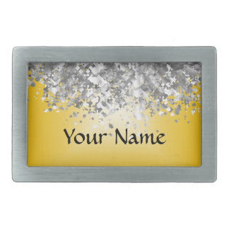 Bright yellow and faux glitter rectangular belt buckle