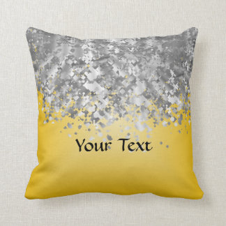 Bright yellow and faux glitter throw cushions