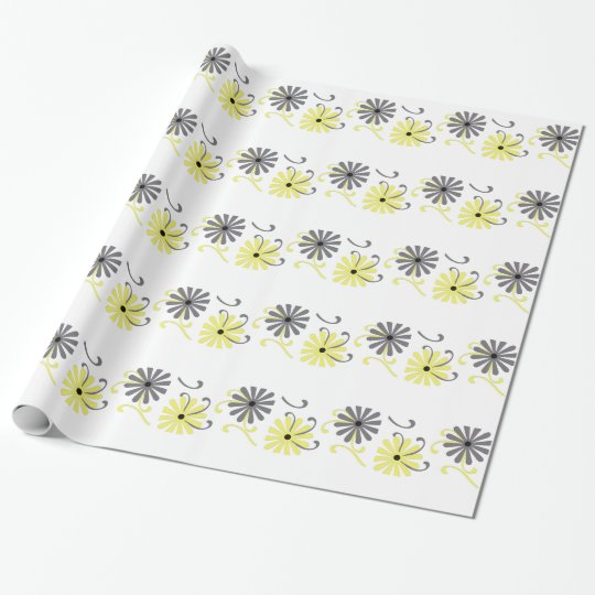 Bright, yellow and grey flowers, gift wrap. wrapping paper