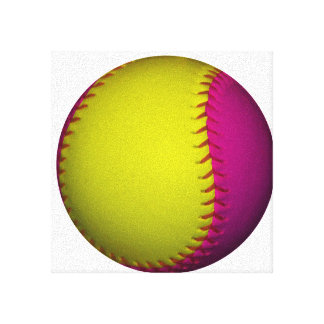 Bright Yellow and Pink Softball Stretched Canvas Print