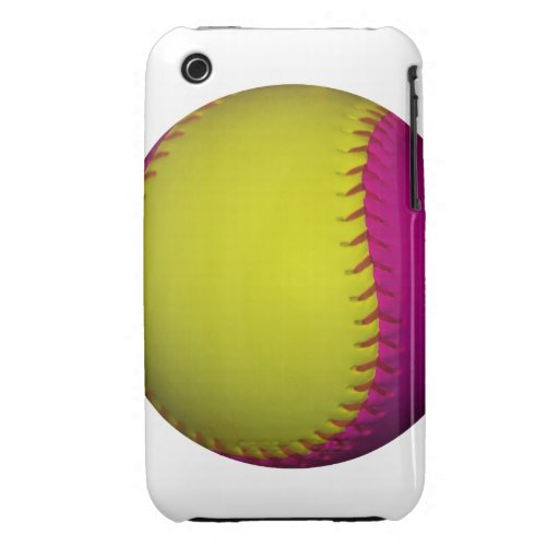 Bright Yellow and Pink Softball Case-Mate iPhone 3 Case