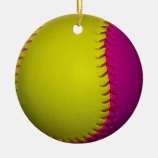 Bright Yellow and Pink Softball Christmas Ornament