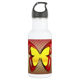 Bright Yellow and Red Butterfly 532 Ml Water Bottle