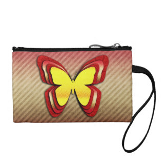 Bright Yellow and Red Butterfly Coin Purse