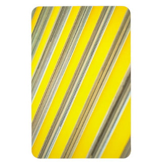 bright yellow and white diagonal striped pattern rectangular photo magnet