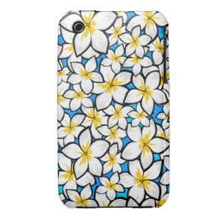 Bright yellow and white frangipani art iPhone 3 cover