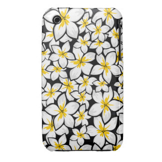 Bright yellow and white frangipani art on black iPhone 3 Case-Mate case