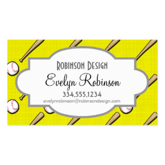 Bright Yellow Baseball Pattern Double-Sided Standard Business Cards (Pack Of 100)