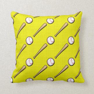 Bright Yellow Baseball Pattern Cushion