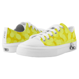 Bright Yellow Bubbles Pattern Low Top Canvas Shoes