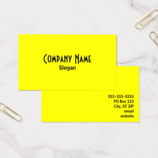 Bright Yellow Business Card