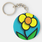 Bright Yellow Buttercup Graphic Key Ring