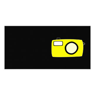 Bright Yellow Camera On Black Customized Photo Card