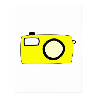 Bright Yellow Camera. On White. Post Cards