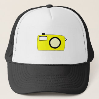 Bright Yellow Camera. On White. Trucker Hat